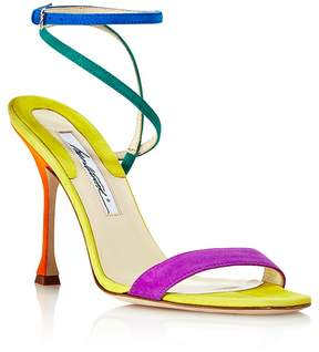 Brian Atwood Women's Sienna Suede Color-Block Ankle Strap Sandals