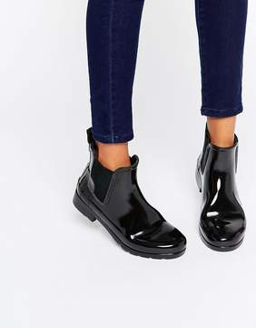 Hunter Refined Black Gloss Chelsea Wellington Boots