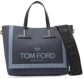 Tom Ford T Mini Leather-trimmed Printed Denim Tote - Blue