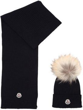 Moncler Wool Knit Hat & Scarf W/ Fur Pompom