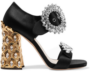 Miu Miu Crystal-embellished Satin Sandals - Black