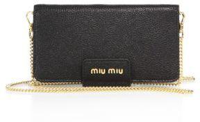 Miu Miu Madras Leather Chain Phone Wallet