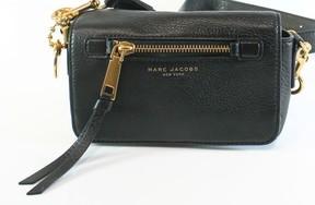 Marc Jacobs Black Gold Pebbled Leather Recruit Cross Body Purse - BLACKS - STYLE