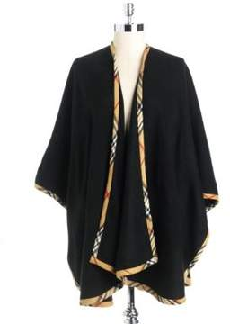 Lord & Taylor Solid Ruana Wrap With Plaid Trim