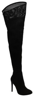 Call it SPRING Womens Haadollan Closed Toe Over Knee, Black Nuback, Size 8.5.