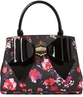 Betsey Johnson Black Floral Bow Satchel