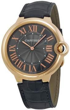 Cartier Ballon Bleu Mechanical Grey Dial Black Leather Strap Men's Watch