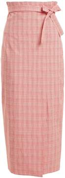 Stella Jean Checked tie-waist cotton-blend pencil skirt