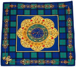 One Kings Lane Vintage Fendi Plaid Bkue Silk Zodiab Scarf - Vintage Lux