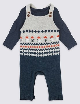 Marks and Spencer 2 Piece Fairisle Knitted Dungarees & Bodysuit