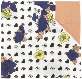 Twin-Set branded floral heart print scarf