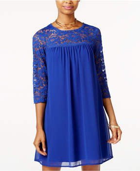 As U Wish Juniors' Lace-Trim Shift Dress