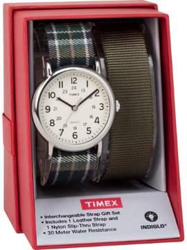 Timex Women's Weekender 38 Watch Gift Set, Green Plaid & Olive Nylon Slip-Thru Straps