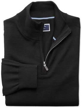 Charles Tyrwhitt Black Merino Wool Zip Neck Sweater Size Medium