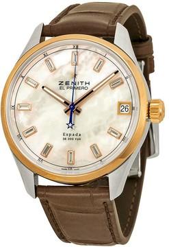 Zenith El Primero Espada Automatic Mother of Pearl Brown Leather Men's Watch 512170465081C713