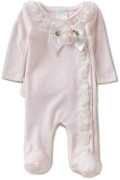 Edgehill Collection Baby Girls Preemie Rosette Footed Coverall