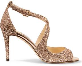 Jimmy Choo Emily 85 Glittered Leather Sandals - Bronze