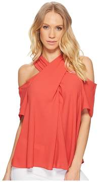 1 STATE 1.STATE Short Sleeve Cold Shoulder Cross Neck Blouse Women's Blouse