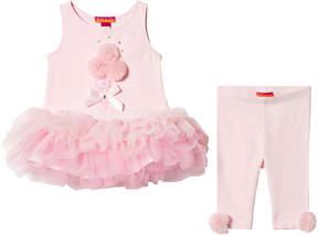 Kate Mack Biscotti Pink 2 Piece Set Pom Pom Dress with Pink Leggings