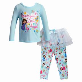 Dollie & Me Girls 4-14 Mommy's Little Angel Top & Skirted Bottoms Pajama Set