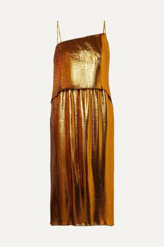 Cédric Charlier Layered Plissé-lamé Dress - Gold