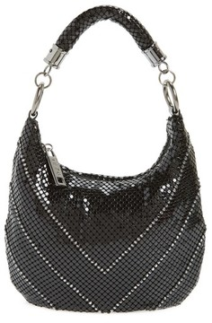 Whiting & Davis Little Black Mesh Shoulder Bag - Black