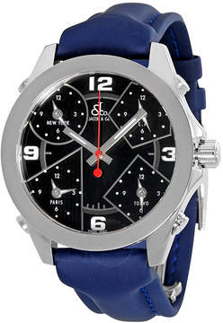 Jacob & co Jacob and Co. Five Time Zone Black Dial Blue Strap Men's Watch