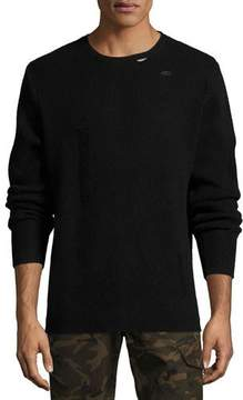 Ovadia & Sons Distressed Ribbed Wool Sweater, Black