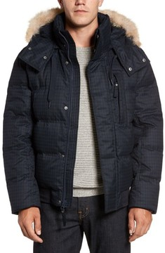Andrew Marc Men's Print Quilted Jacket With Genuine Coyote Fur Trim