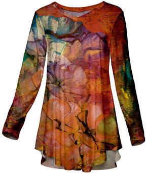 Azalea Rust & Orange Abstract Long-Sleeve Tunic - Women & Plus