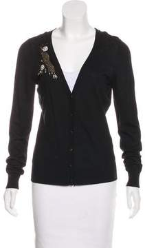 T Tahari Embellished Button-Up Cardigan