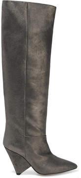 Isabel Marant Loyko Metallic Brushed-leather Knee Boots - Gunmetal