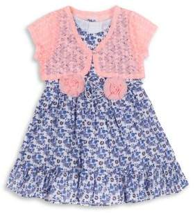 Little Lass Little Girl's Two-Piece Lace Bolero and Floral Cotton Dress Set