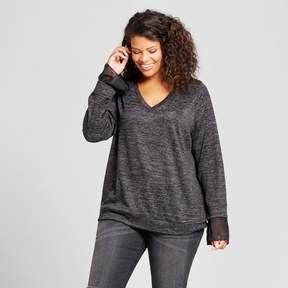 Ava & Viv Women's Plus Size Cozy Ruffle Sleeve Pullover Black