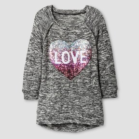 Miss Chievous Girls' LOVE Heart Sequined Tunic - Black