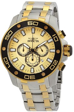 Invicta Pro Diver Chronograph Yellow Gold Dial Men's Watch