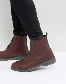 Asos Lace Up Boots In Burgundy Leather With Ribbed Sole