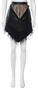 Rodarte Leather-Accented Asymmetrical Skirt w/ Tags