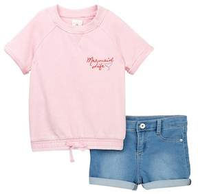 AG Jeans French Terry Pullover & Shorts Set (Toddler Girls)