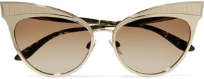 Dolce & Gabbana Cat-eye Embossed Gold-tone Sunglasses