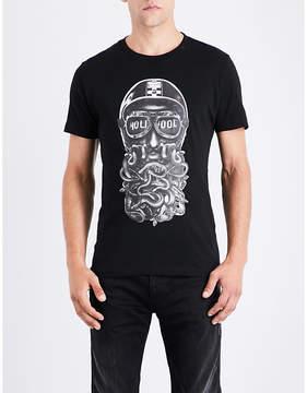 Replay Biker-print cotton-jersey T-shirt