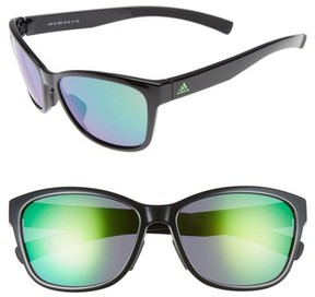 adidas Women's Excalate 58Mm Mirrored Sunglasses - Shiny Black/ Green Mirror
