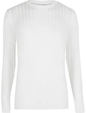 River Island Mens White chunky ribbed muscle fit top