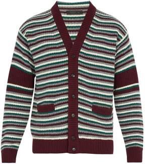Prada V-neck striped wool-blend knit cardigan