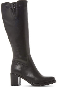 Dune Ladies Black Classic Todd Cleated-Sole Leather Boots