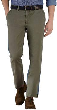 Charles Tyrwhitt Olive Extra Slim Fit Flat Front Cotton Chino Pants Size W34 L34