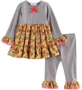 Bonnie Jean Toddler Girl Flower & Stripe Tunic & Leggings Set