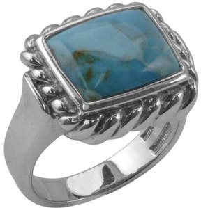 Barse Women's Rectangle Turquoise Rope Ring BASIR08T01