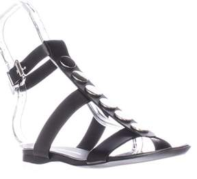 CNC Costume National 1160740 Flat Ankle Strap Sandals, Nero/black.