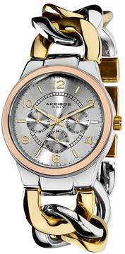 Akribos XXIV Akribos GMT Multi-Function Tri-Tone Ladies Watch